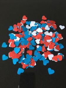 600 Red,White & Blue  Paper Hearts Wedding Table Decoration/Confetti-1.5cm