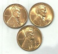 1946 P D S  Red  Uncirculated  Lincoln Wheat Cent Penny FREE SHIPPING