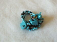Beautiful Collectible Cocktail Ring Stretch Chunky Turquoise Amber Beads CUTE