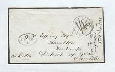 1846 MOURNING Cover London TO Boston TO Hamilton, CANADA.  Beautiful Cover