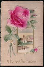 BIRTHDAY GREETINGS Vintage Postcard Flocked Red Rose & Bud Farm Scene Old