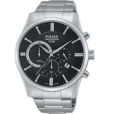 Pulsar Chronograph Black Dial Stainless Steel Bracelet Gents Watch PT3735X1