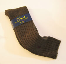 Ralph Lauren Ladies Socks Tall Rib Wool Blend w/ Polo Pony Heather Olive - NEW