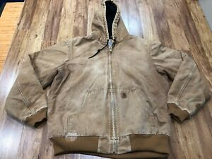 MENS LARGE TALL - Carhartt J130 Sandstone Flannel Quilted Lined Hooded Jacket