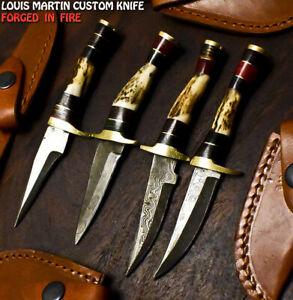 Louis Martin Rare Handmade Damascus Stag Antler Hunting Skinner Knife a Lot of 4