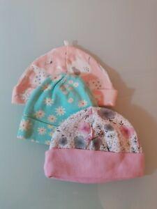 Baby Girl Newborn Beanies Lot Of 3 New