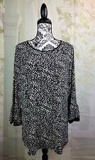 Susan Graver women's geometric print top stretch size xl 3/4 bell sleeve bb10