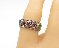 925 Sterling Silver  - Vintage Peridot Topaz & Amethyst Band Ring Sz 7 - R15412