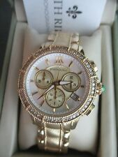 Judith Ripka SS Diamonique Goldtone Chronograph Watch NEW Battery  AVERAGE MINT