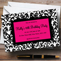 Pink, Black & White Damask Personalised Party Invitations