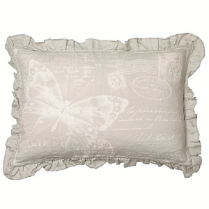 Bee & Willow Butterfly Ruffle Decorative Pillow Gray Paris Post Card Shabby Chic