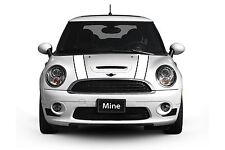 Mini Cooper 2007-2013 White and Black Hood Stripe Decals - Exact Fit No trimming