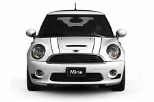 Mini Cooper 2014-2016 White and Black Hood Stripe Decals - Exact Fit No trimming