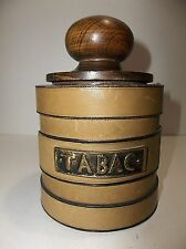 Vintage TABAC Leather Covered Wood PIPE Tobacco Jar HUMIDOR