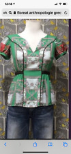 Floreat Anthropologie size 8 Green Floral Silk Embroidered Tie back Top Blouse