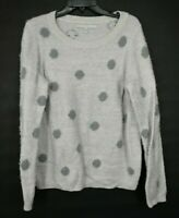 Lauren Conrad Womens Purple Scoop Neck Long Sleeve Fuzzy Polka Dot Sweater L