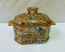 Handpainted Chinese Trinket Box with Heavy Gold Gilt Hallmarked Antique