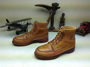 VINTAGE DISTRESSED MADE IN USA AMBER TIMBERLAND LEATHER LACE UP BOOTS SIZE 8.5 W
