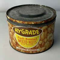 Hygrade Mixed Nut Food Metal Container Vintage 1950's Collectible 7519