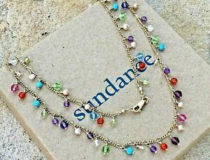 """NEW $328 Sundance 17"""" 12k Gold GF Multi Gemstone Turquoise Choker Necklace NWT"""