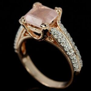 Ring Rose Quartz Genuine Natural Gem Sterling Silver Rose Gold Size R  US 8.75