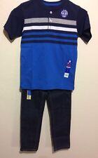 Garanimals 365 Kids Ss Navy Sz 7 Shirt & Faded Glory Boys Flex Fabric Sz 7 Jeans