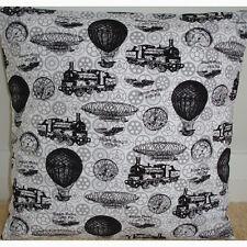 """16"""" Cushion Cover Steampunk Steam Power Vehicles Balloon Train Black Grey"""