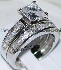 Princess cut Diamond Engagement Ring Bridal Band Set 14k White Gold
