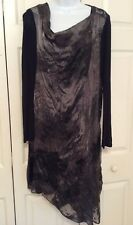 PURE DKNY BLACK ASYMMETRICAL SHEER DRESS & SCARF - SIZE 8 - STUNNING!!!