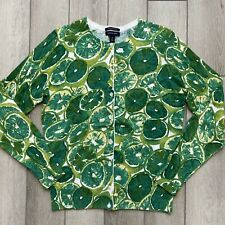 Lands' End Lime Print Cardigan Sweater 100% Cotton Small