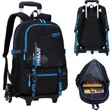 AU Removable Children Trolley Luggage Black Backpack School Hand Bag 6 Wheels