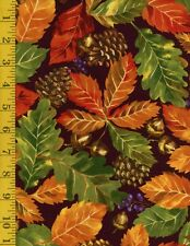 Fall Retreat Leaves Brown Fabri-Quilt 100% Cotton Fabric by the yard