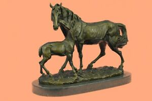 Horse Lover Foal Mother Barn Farm Ranch Art Bronze Marble Statue Trainer DEAL