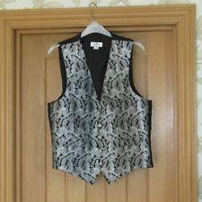 "Rael Brook men's smart silver grey black leaf design waistcoat 38"" S wedding vgc"