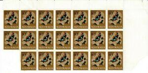 Stamps 1966 Australia 10c Anemone Fish top right corner wide margin block of 20