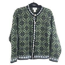 Vintage LL Bean Nordic Icelandic Norwegian Wool Sweater Womens M Cardigan AH4