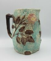 "Antique Majolica Pitcher Roses / Flowers On Tree Bark 7-1/2"" Height"