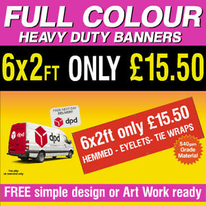 PVC Banner 6ft x 2ft  Printed Outdoor Vinyl Sign for Business Parties Birthday.