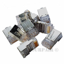 100 Pack - RJ45 8P8C Shielded CAT5e Crimp-On Connector Plug Ends For Solid Cable