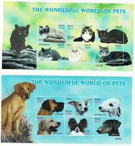 Stamps The Wonderful World of pets Dogs and Cats Palau sellos perros gatos