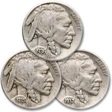 1935-1937 5c Indian Head Buffalo Nickel 3 Coin All Mint Set Lot F Fine