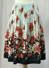 TALBOTS Petites Womens 4P Red Poppy Floral Full Skirt Pleated Cotton Blue Summer