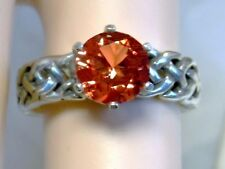ORANGE PADPARADSCHA SAPPHIRE RING SIZE 9.5 ANTIQUE 925 STERLING SILVER USA MADE