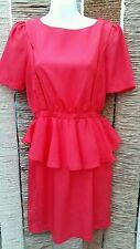 BOOHOO Orange Short Sleeve Peplum Dress Size 8