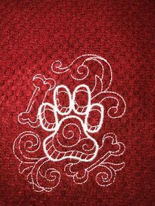 Embroidered Red Kitchen Hand Towel       Animal Paw Print Dog BS1571