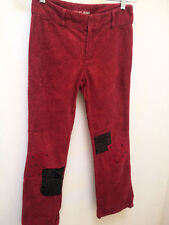 Guess Jeans 12 Pants Red Paisley Corduroy Patch Nail Head Detail Back to School