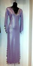 Purple Silver Gold GALABEYA BELLY DANCE Party MAXI Egypt DRESS RAVE HANDMADE OS