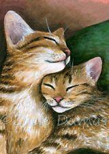 ACEO art print Cat 603 kitten love from original painting L.Dumas
