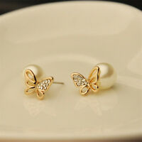 1 Pair Fashion Jewelry Women Crystal Gold Butterfly Pearl Ear Stud Earrings JR