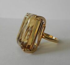 Retro 34.68 Carats Natural CITRINE 18k Yellow Gold Ring